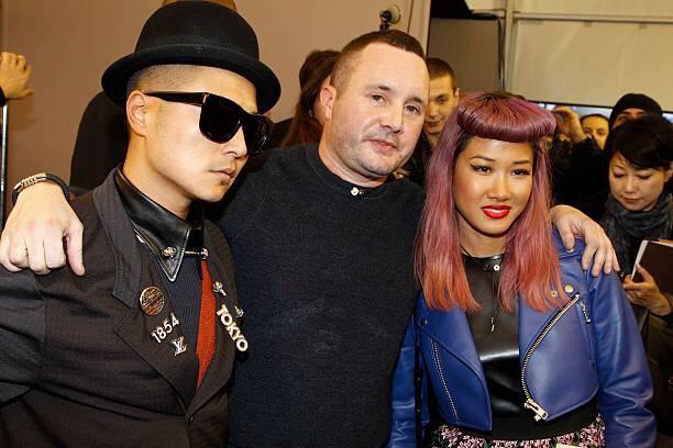 Vebal Kim Yoon backstage at Louis Vuitton Menswear a/w13